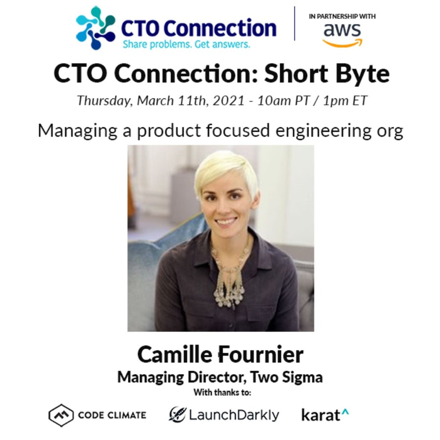 Short Byte: Camille Fournier - Managing a product focused engineering org