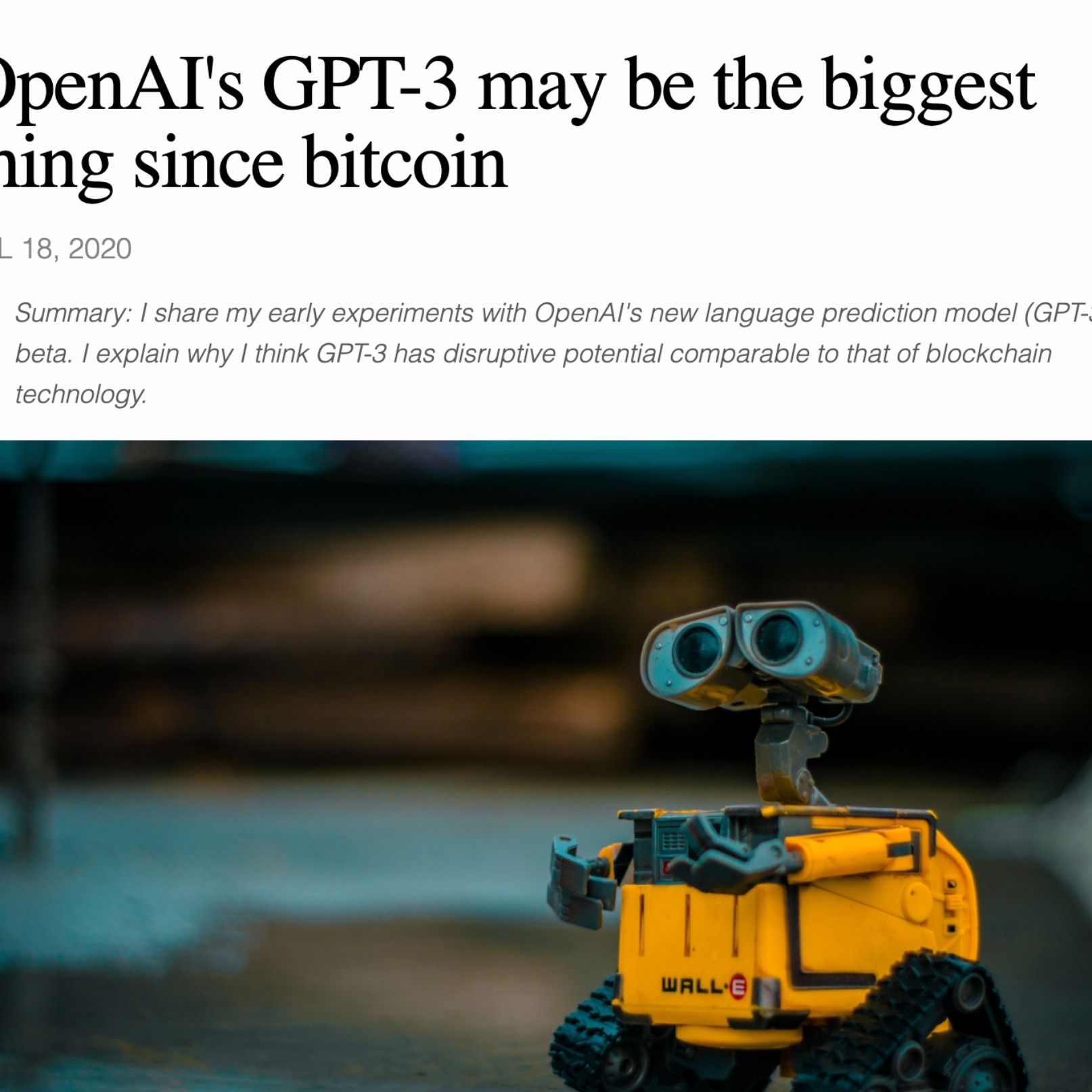 Why new IA platform GPT3 is worth paying attention to for entrepreneurs and non techs. A blog post summery and discussion.